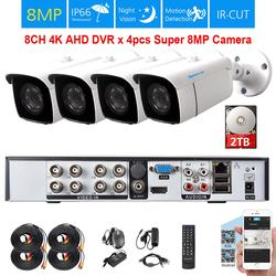 Камера видеонаблюдения TOPROHOIME h.265 + 8 каналов 4K Ultra HD, 1/3 дюйма, SONY 8 Мп, водонепроницаемая камера ночного видения, система видеонаблюдения