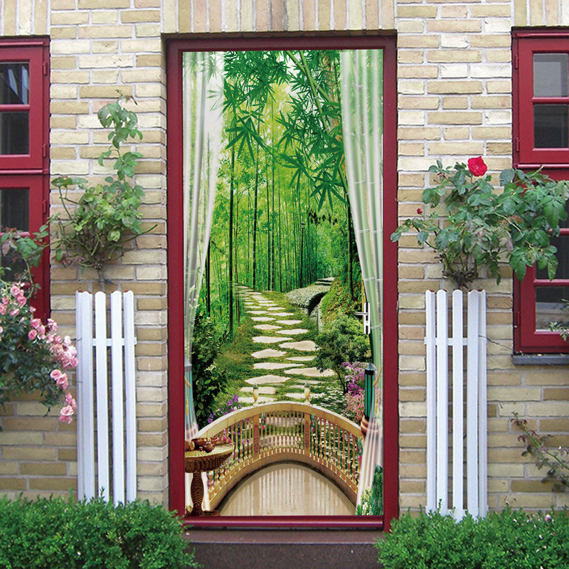 3D Door Sticker Bamboo Forest Out Window PVC Wallpaper Poster Stickers Self Adhesive DIY Removable Waterproof Murals Home Decor