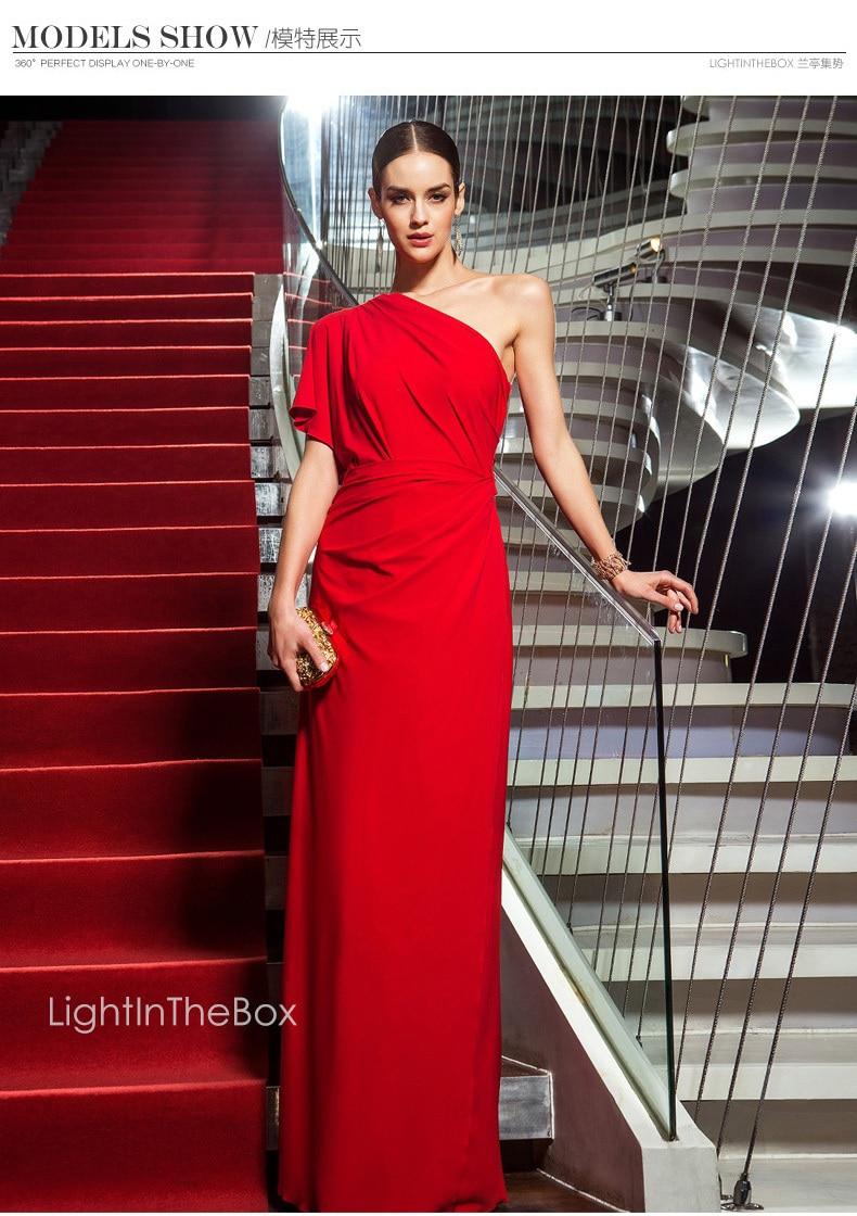 Free Shipping Robe De Soiree 2018 New Hot&sexy Red Long One Shoulder Vestido De Festa Longo Party Formal Gown Bridesmaid Dresses