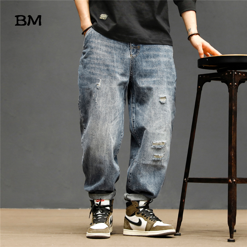 2020 Korean Style Ripped Jeans Men Streetwear Fashion Tooling Jeans Japanese Harajuku Boyfriend Jeans Loose Overalls Male