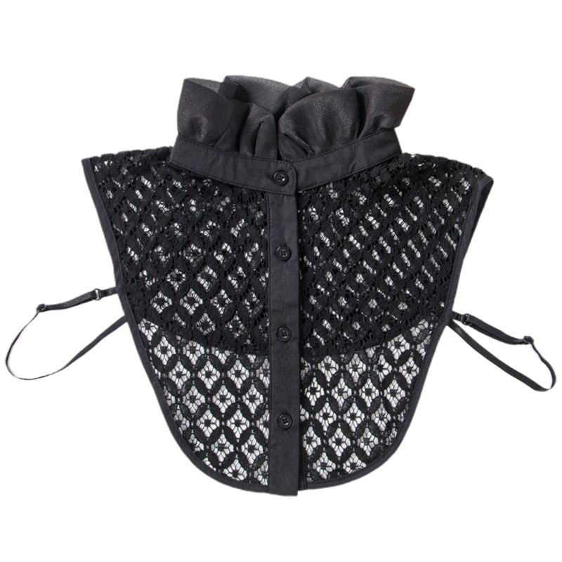 Womens Hollow Crochet Lace Detachable Half-Shirt Ruffles High Neck Fake Collar AXYD