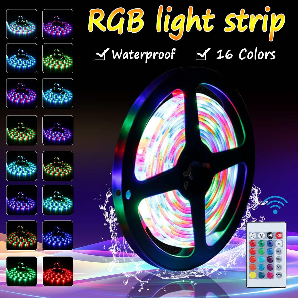 0.5m/1m/2m/3m/4m/5m 5V USB Powered Waterproof Led Strip Lights RGB Colour Changing Remote Control USB For Alexa