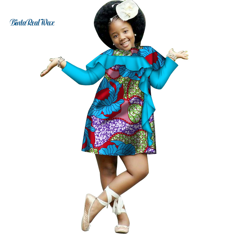 Lovely Girls Cotton African Clothes Dashiki Ankara Print Dresses For Kids Children Bazin Riche African Style Clothing WYT206