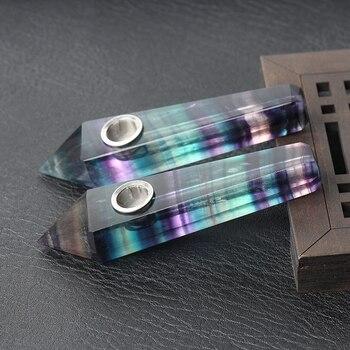 Natural de fluorita cuarzo de cristal con carbohidratos varita Punto de cristal curativo pipa de fumar decoración artesanía