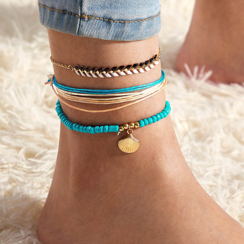 Vintage Shell Beads Anklets For Women New Multi Layer Rope Chain Anklet Leg Bracelet Bohemian Beach Ankle Chain Jewelry Gift