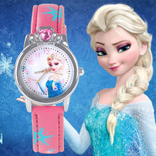 Novo estilo princesa elsa criança relógios dos desenhos animados anna cristal princesa crianças relógio para meninas estudante crianças relógio de pulso relógios