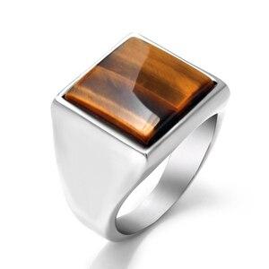 Мужское и женское кольцо «тигровый глаз», кольцо из нержавеющей стали с натуральным камнем, ювелирные изделия для влюбленных