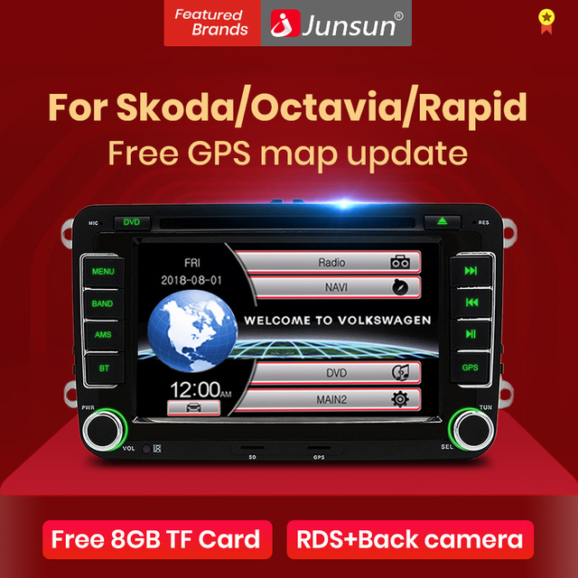 "Lecteur multimédia Radio DVD de voiture Junsun 2 din 7 ""pour VW/Skoda/Octavia/Fabia/Rapid/Yeti/Seat/Leon GPS Navigation audio stéréo de voiture"