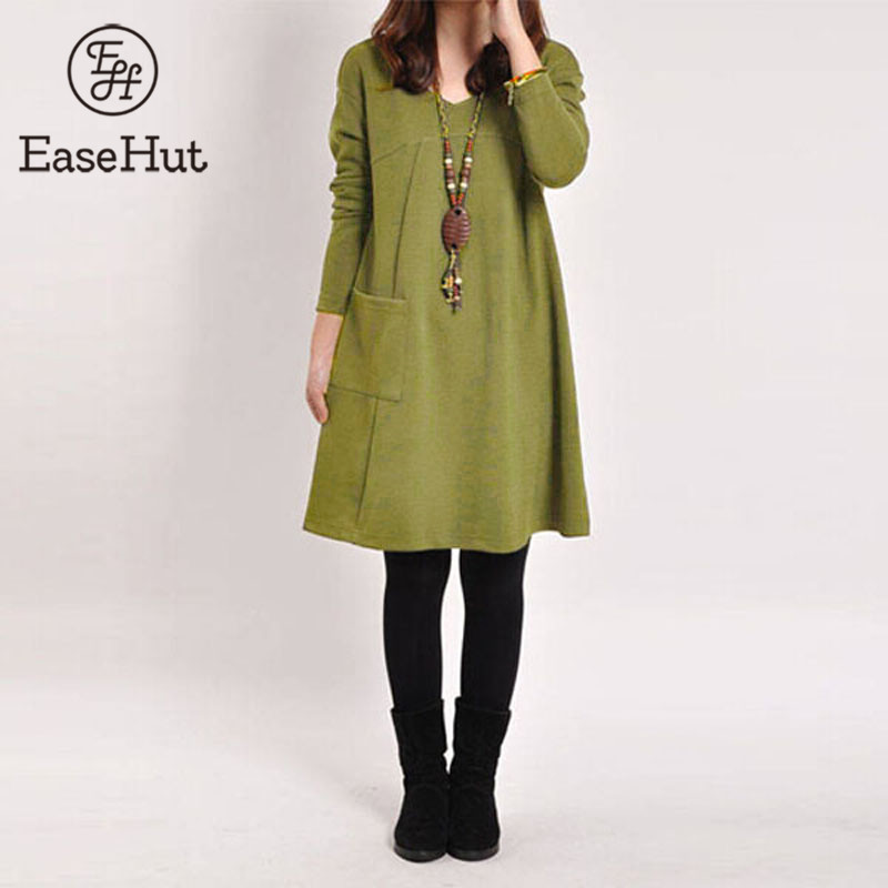 EaseHut Vintage Women Winter Dress V-neck Long Sleeve Loose Casual Fall 5XL Plus Size Dress Retro Ladies Autumn Tube Midi Dress
