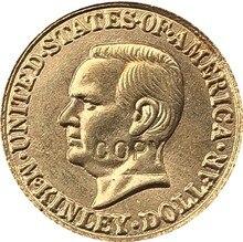 Gola-Banhado EUA 1916 Dólares 1 24-K Francos coin copy 15mm