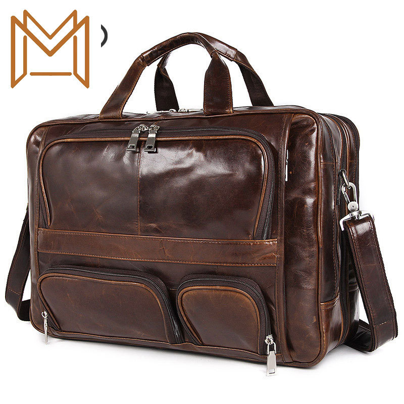 Genuine Leather Business Affairs Male Package Tuba Genuine Leather Handbag Inch Computer Briefcase