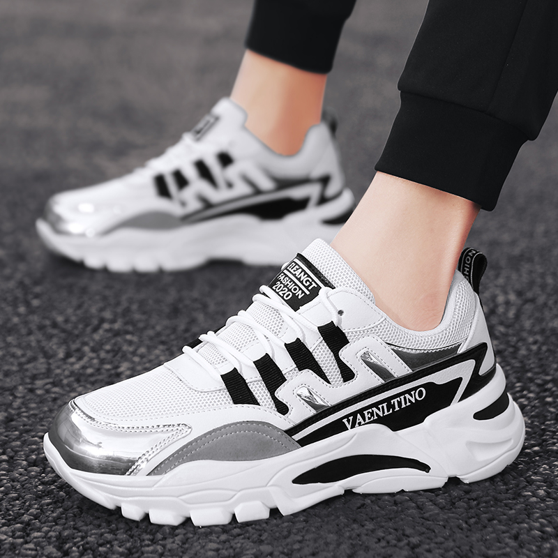 Classic Hong Kong Style Men's Ins Casual Sneakers Thick Sole Lace-up Running Shoes Mesh Breathable Casual Shoes Tide Sneakers