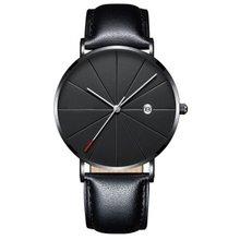 цена Fashion Simple Watch Calendar Slim Men'S Business Belt Watch Quartz Watch Men Personality Wild Watches HOT онлайн в 2017 году