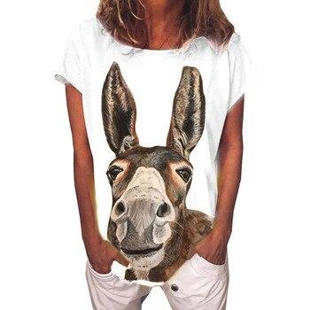 Camisetas con estampado de cabeza de burro de dibujos animados, camisetas blancas para mujer, Tops de verano, camisetas holgadas de manga corta con cuello redondo de moda informal Vintage