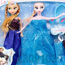 letsjoy Beauty fashion cartoon doll girl Princess elsa and Anna xmas gift toys for girlfriend kids action figure Movie & TV