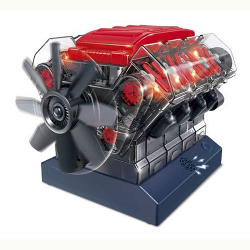 Assemble 270 Pieces Of Engine Model To Assemble Acousto-optic Effect Transparent Visual Courseware Toy Puzzle Entertainment