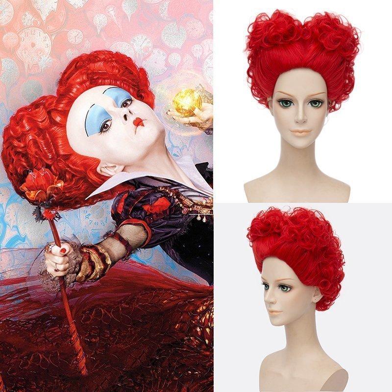 Hairpiece Heat-Resistant-Fiber Anime Wonderland Cosplay in Short Red Queen The Alice