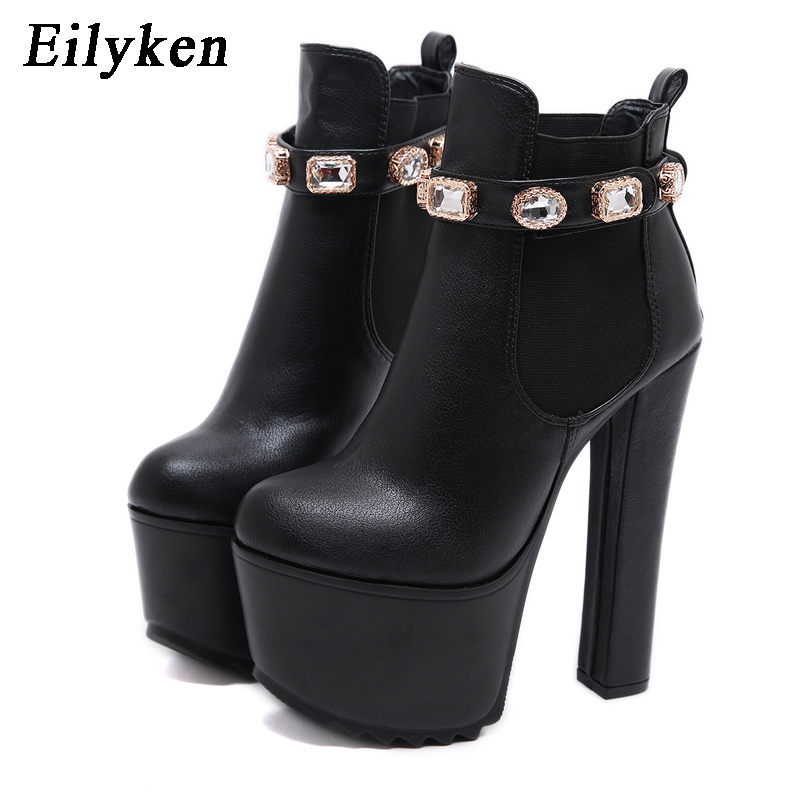 EilyKen 2019 Winter Fashion Crystal Pumps PU Leather Round Toe Women Ankle Boots  Roman Platform High Heel Shoes 16CM