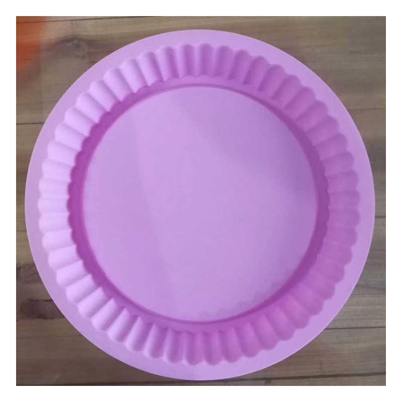 1pcs גלי עגול סיליקון עוגת מגש, 27cm אפיית מגש, פיצה אפייה פאן, יבש עוגת עובש, מטבח כלי צבע, משלוח אקראי