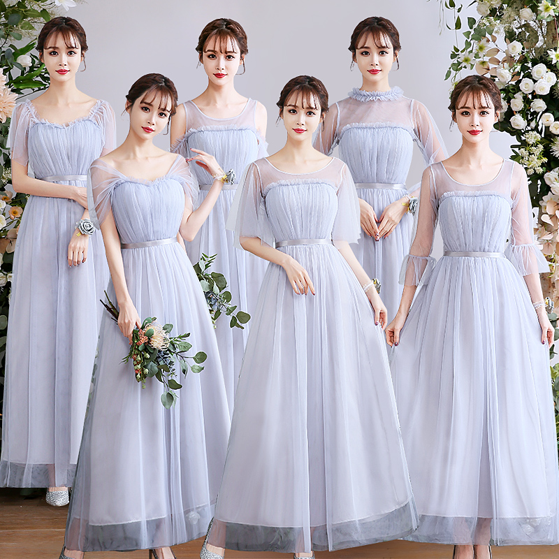 Gray Pink Bridesmaid Dresses Short Sleeve Guest Wedding Party Tulle Floor-Length Ladies Gowns Long Simple Dress Prom Vestidos