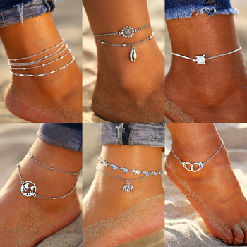 New Vintage Anklet Set Fashion Anklets For Women 5pcs/set Multilayers Adjustable Anklet 2020 Bracelet On Leg Foot Beach Jewelry vintage engraved floral anklet for women