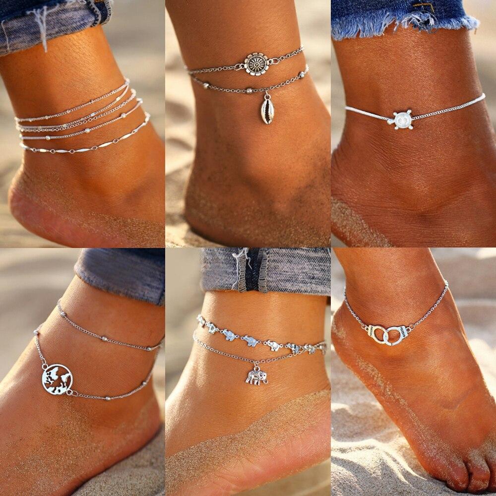 New Vintage Anklet Set Fashion Anklets For Women 5pcs/set Multilayes Adjustable Anklet 2020 Bracelet On Leg Foot Beach Jewelry