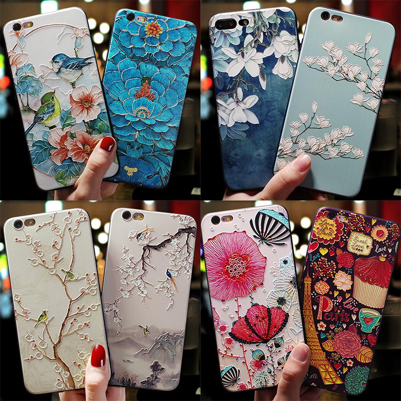 Relief Cute Flower TPU <font><b>3D</b></font> Emboss <font><b>Silicone</b></font> <font><b>Case</b></font> For <font><b>iPhone</b></font> <font><b>X</b></font> XR 6 6S 7 8 Plus 5 5S SE 9 <font><b>Cases</b></font> For <font><b>iPhone</b></font> XS Max Coque Cover Shell image