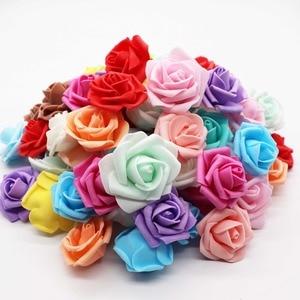 Image 1 - 4cm 30 sztuk/partia Big PE pianki Rose sztuczny kwiat głowy dekoracji ślubnej domu DIY Scrapbooking wieniec fałszywe dekoracyjne Ros