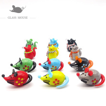 6pcs New Handmade murano glass rat statue charms Home desktop decoration miniature glass mouse Figurines ornaments accessories