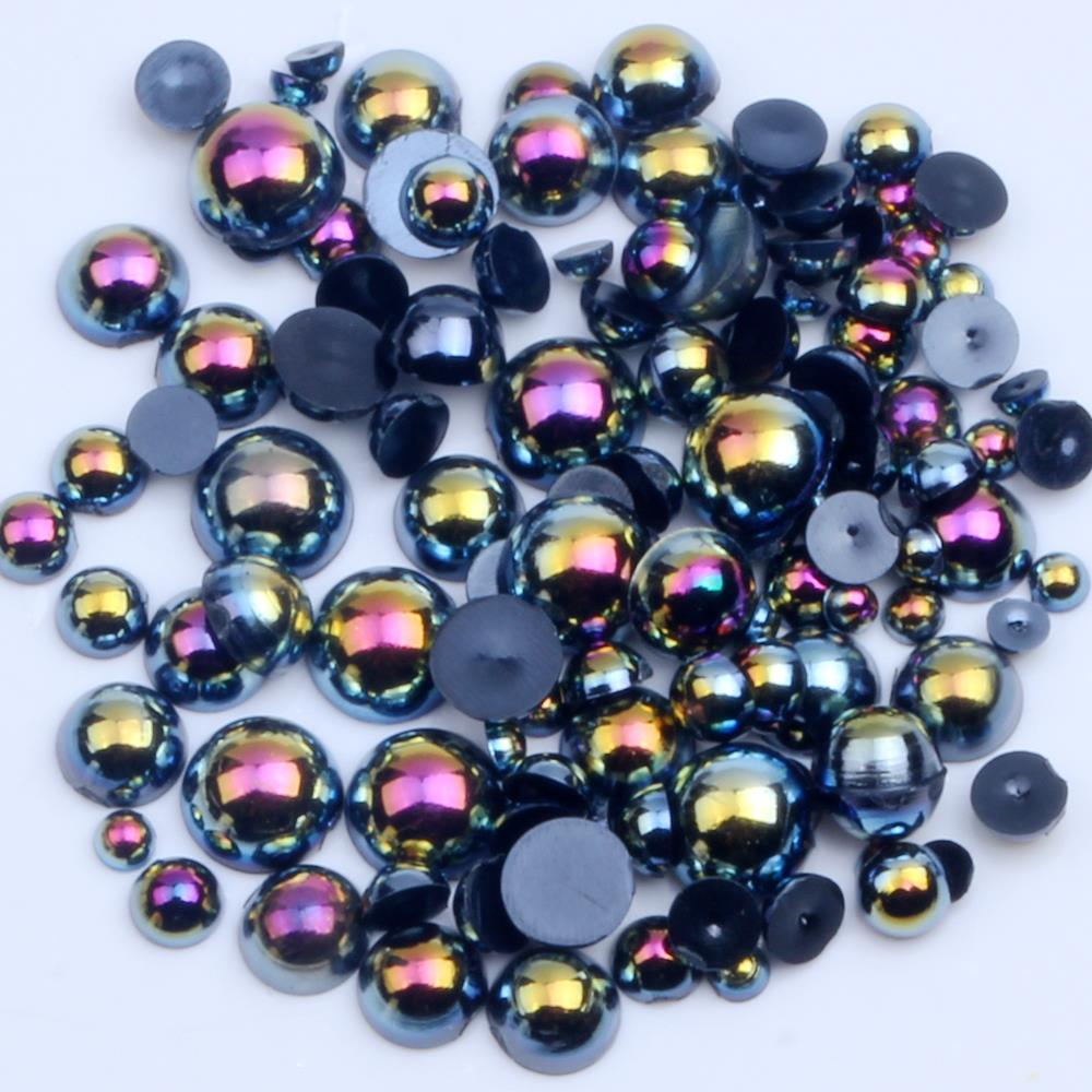 1000/500pcs 2-5mm And Mixed Size Black AB Glue On ABS Imitation Half Round Pearls Resin Flatback Beads For Craft Jewelry Making