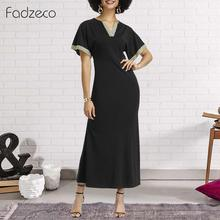 Fadzeco African Dresses for Women Dashiki Short Sleeve V Neck Lace Deco Long Maxi Dress Ethnic Tribal Print Summer Dress Party tribal print tassel dress
