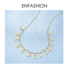 ENFASHION Star & Moon Choker Necklace Women Stainless Steel Chain Pendants Necklaces Fashion Femme Jewelry Collares PM193014(China)