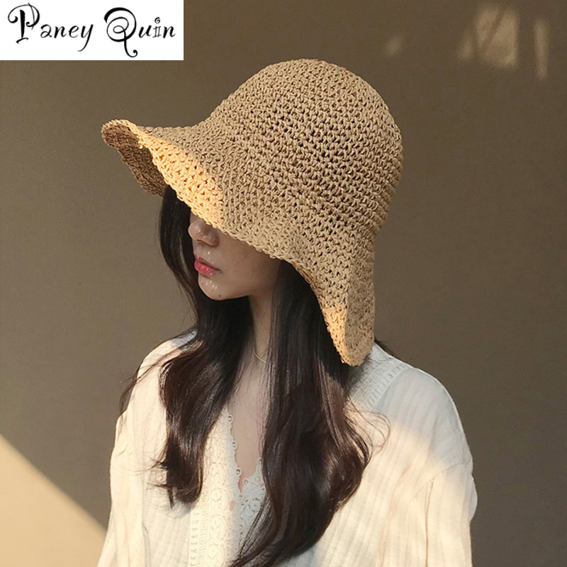 brand WOMEN Summer Hats Sun Beach Panama Straw hat Wide Wave Brim Folded Outdoor CAPS Leisure Holiday Raffia Cap visors hat