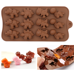 DIY Silicone Chocolate Mold dinosaur mold animal cake biscuit Mold Baking flip sugar candy silicone DIY