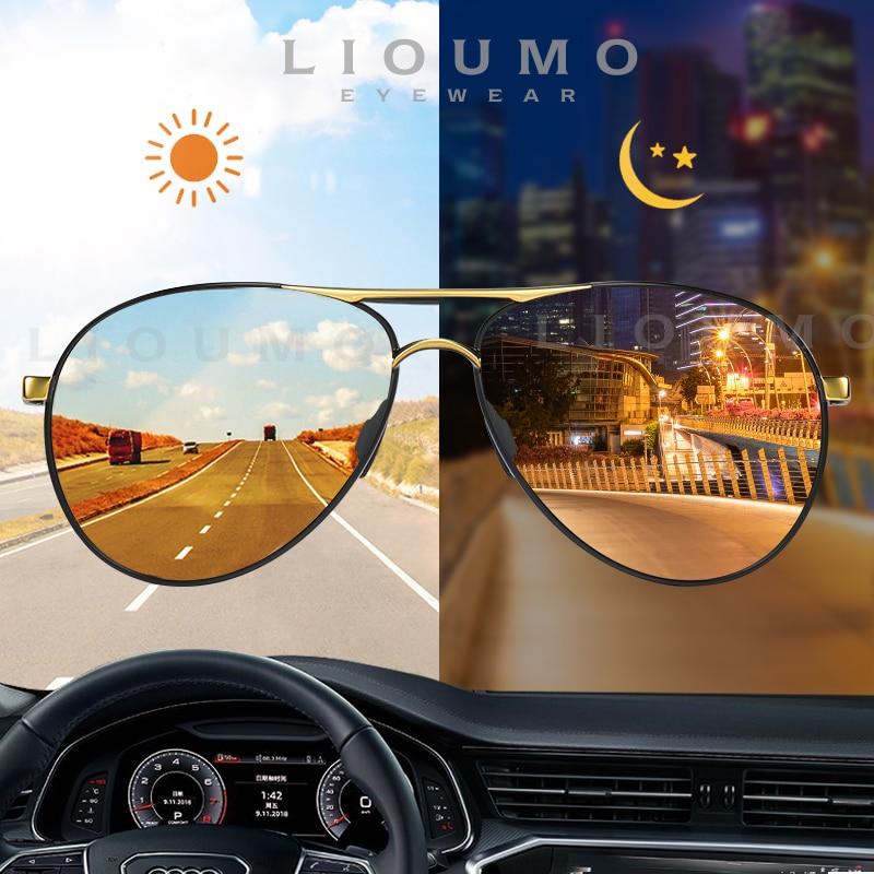LIOUMO Aviation Sunglasses For Men Women's Glasses Photochromic Polarized Driving Goggle Day Night Vision gafas de sol hombre