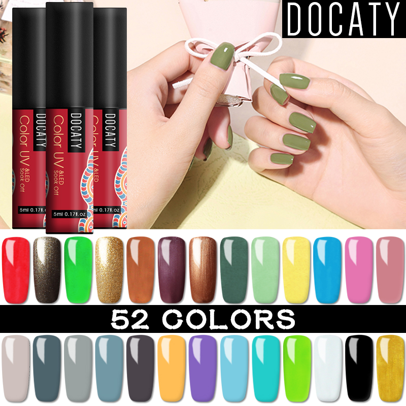 Docaty 5ML Nail Varnish Hybrid For Manicure Semi Permanent UV LED Gel Lacquer Nail Art Design Tools Nail Gel Polish