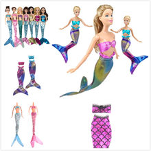 Hot Handmade Dolls Mermaid Tail Dress Party Dress Gown Skirt Fashion Clothes For Doll Baby Toy(China)
