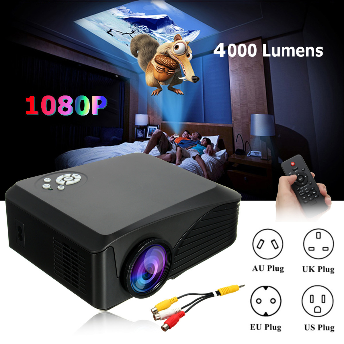 LEORY BP-M400 1080P HD 7000 Lumens 3D LED Projector Multimedia Cinema Theater USB AV TV Home Theatre System