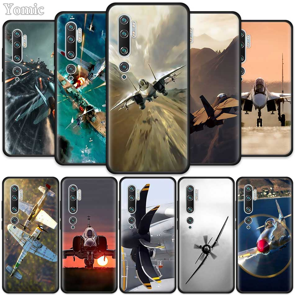 Fighter Propeller Plane Aircraft Case For Xiaomi Mi Note 10 9 SE 9T CC9E CC9 Pro 5G 8 A3 A2 Lite A1 5X 6X Black Silicone Phone C
