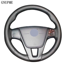DIY Hand Stitched Genuine Leather Car Steering Wheel Covers for VOLVO S60 2011 2014 V40 V60 XC60 2013 2017