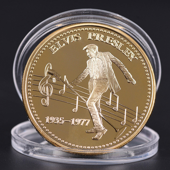 American rock star Elvis Presley 1935-1977 The King of N Rock Roll Gold Art Commemorative Coin Gift image