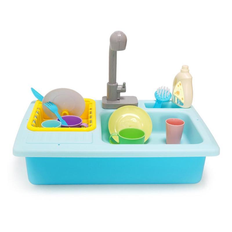 Plastic Simulation Electric Dishwasher Sink Pretend Play Kitchen Toy Set