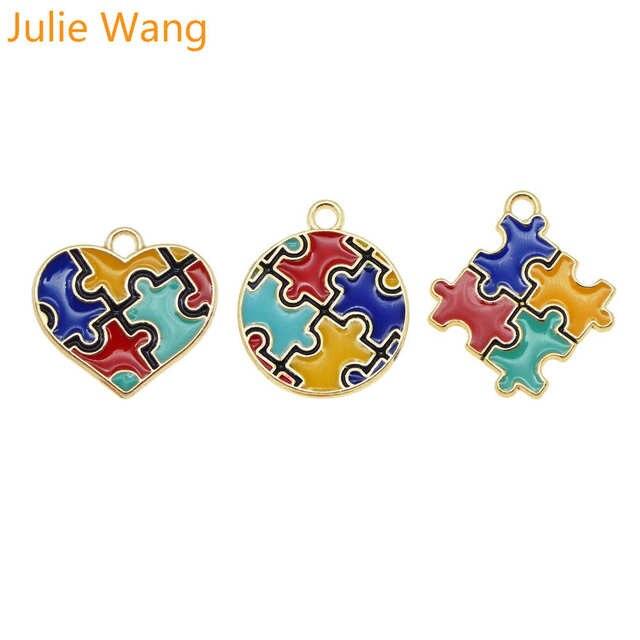 줄리 왕 3 pcs 에나멜 자폐증 인식 지그 소 퍼즐 매력 골드 톤 목걸이 팔찌 귀걸이 쥬얼리 액세서리 만들기