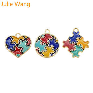 Julie Wang 3PCS Enamel Autism Awareness Jigsaw Puzzle Charms Gold Tone Necklace Bracelet Earrings Jewelry Making Accessory(China)