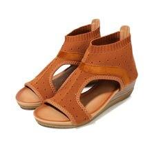 Летние новые стильные женские сандалии замшевые с круглым носком