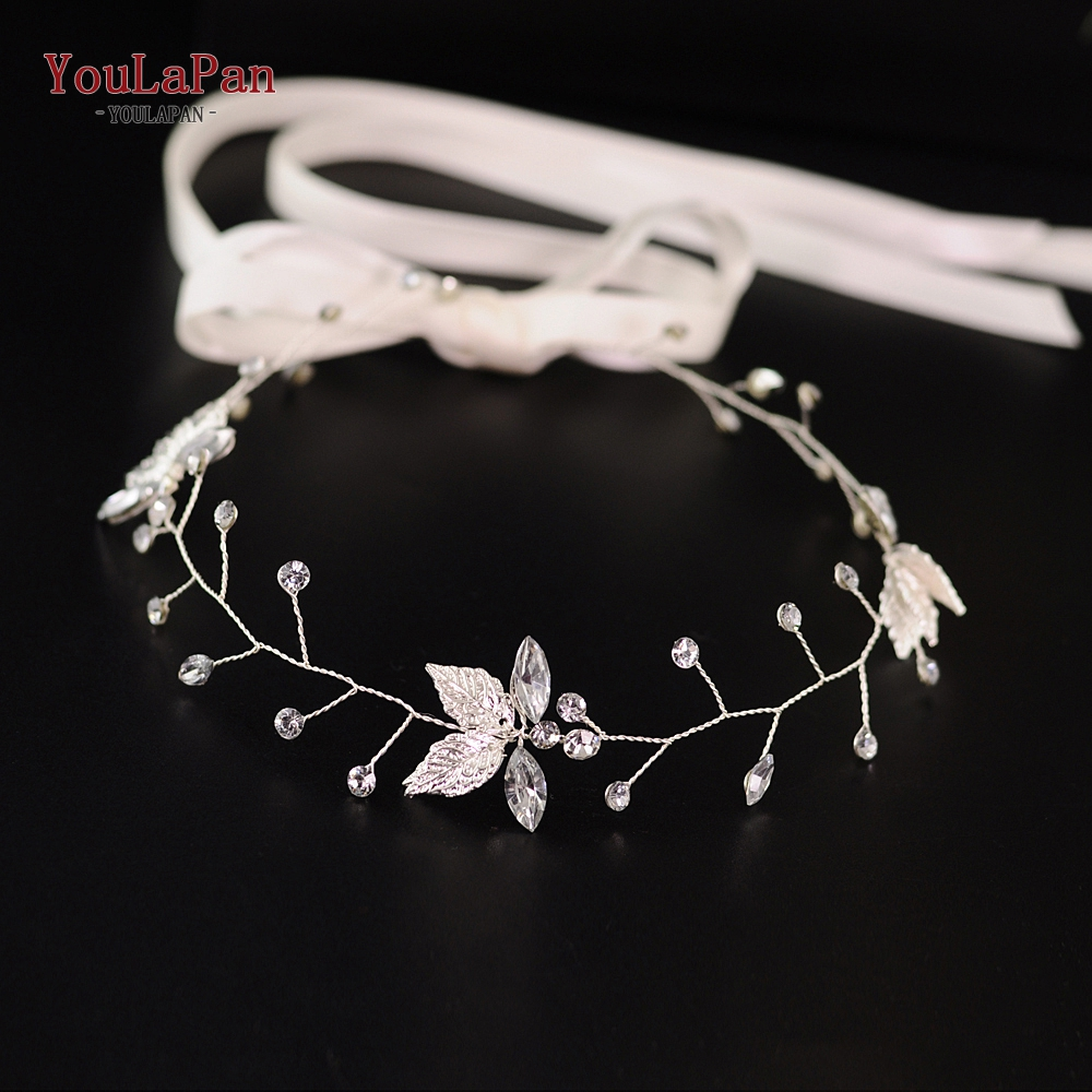YouLaPan HP114-S Bridal Hair Accessories For Women Sliver Leaf Bridal Headband For Women Accessories Crystal Bridal Headpieces