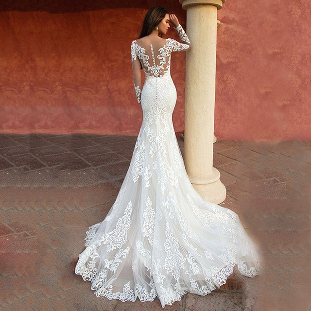 Custom Made Lace Mermaid Wedding Dresses Long Sleeve White Wedding Gown Sexy Vintage 2021 Bride Dress Robe de mariage 3