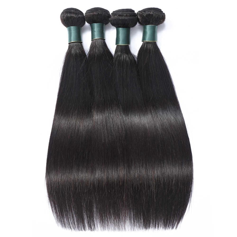 Braziliaanse Steil Haar Bundels Met Frontale Sluiting Remy Human Hair Bundels En Frontale 13X4 Kant Frontale Met Bundels