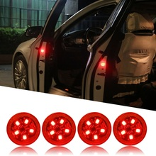 Universal LED Car Opening Door Safety Warning Anti-collision Lights Magnetic Sensor Strobe Flashing Alarm Lights Parking Lamp