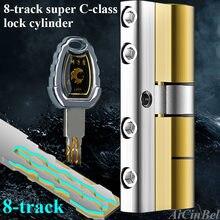 Segurança fechadura da porta de bronze cilindro anti pry aço inoxidável anti-colisão feixe 8 cobra sulco cilindro cor 10 teclas super c